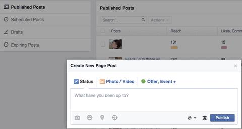 create facebook post