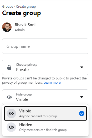 private and visible
