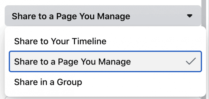 share to a page you manage