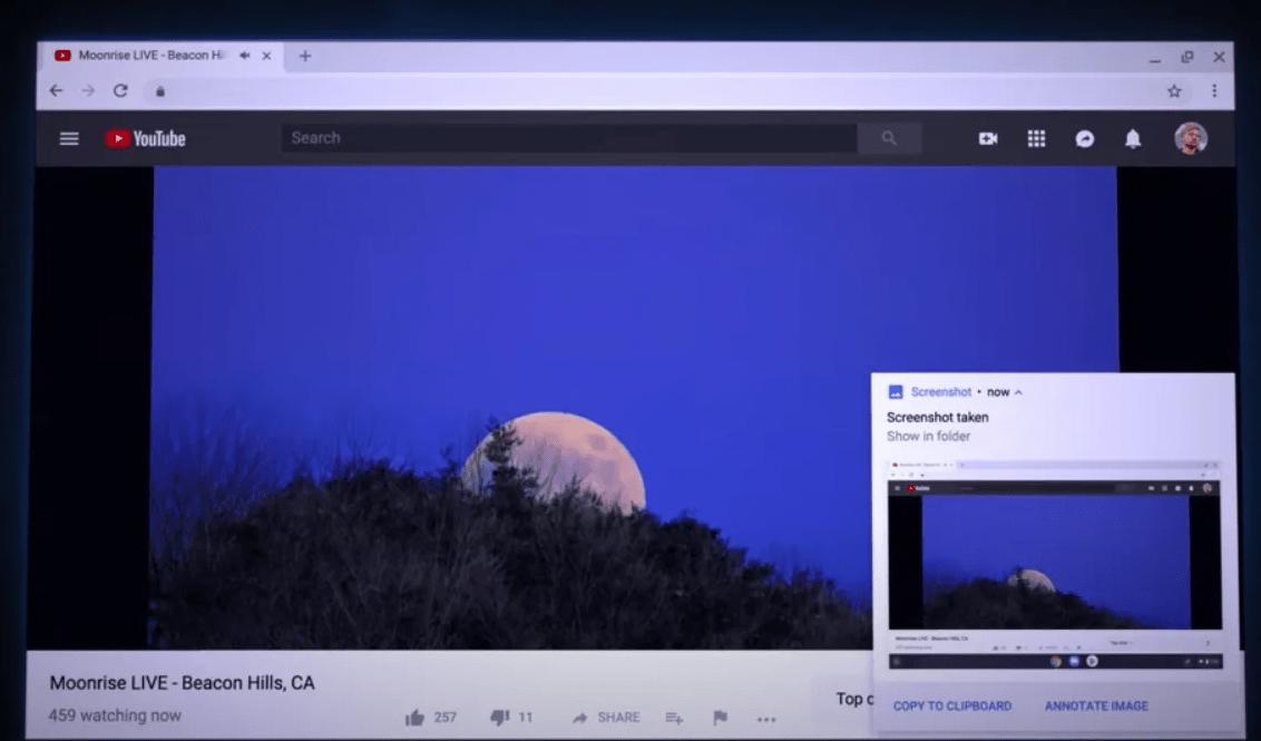 Screenshot option in the bottom right corner
