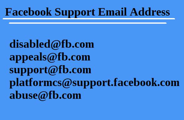 Facebook Support Email Address