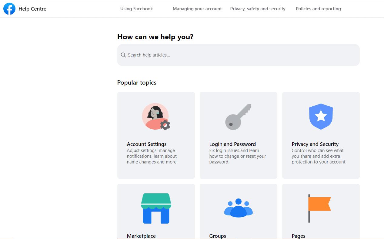 facebook help centre