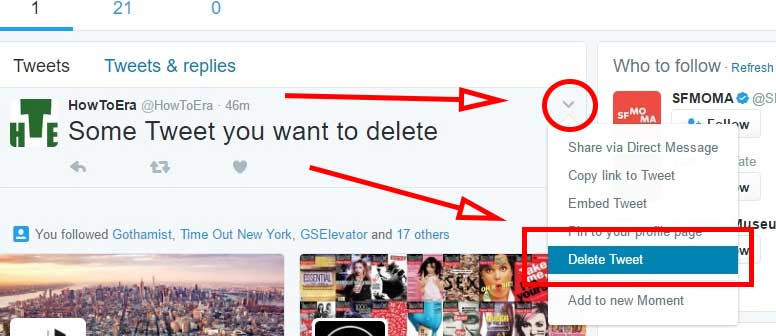 Search the tweet you wish to delete