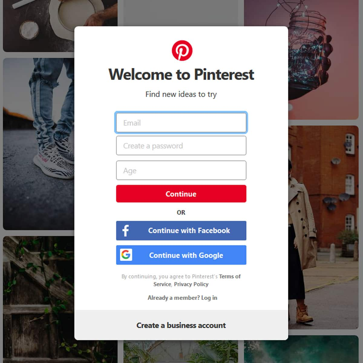 log into your Pinterest account