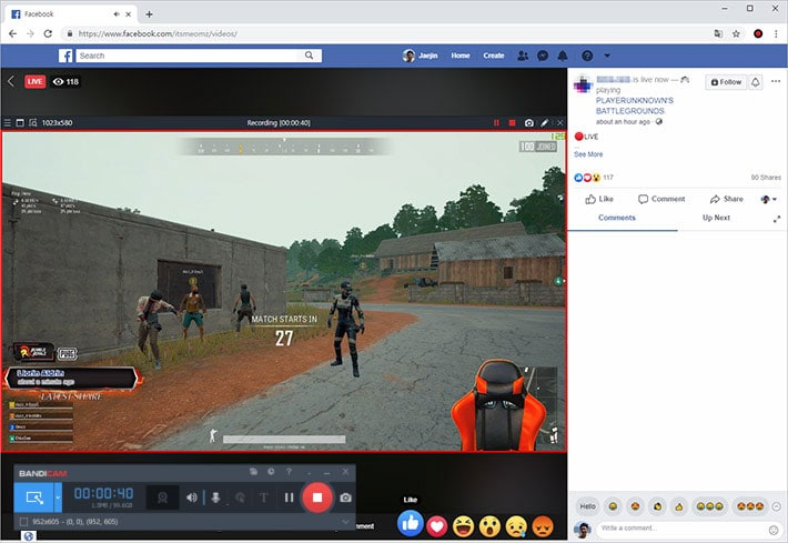 recorded game video on Facebook