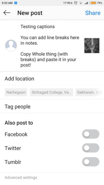 redirect towards the bio or caption tab