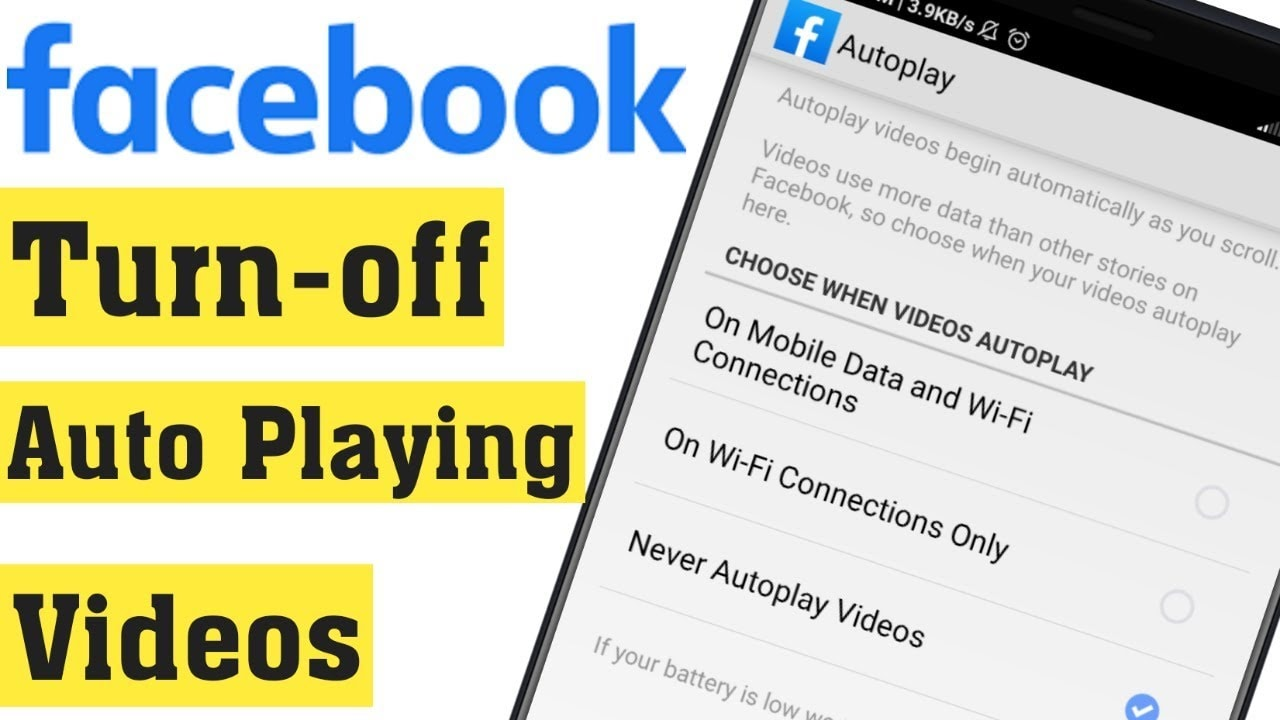 turn off Facebook AutoPlay video
