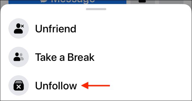 unfollow friend