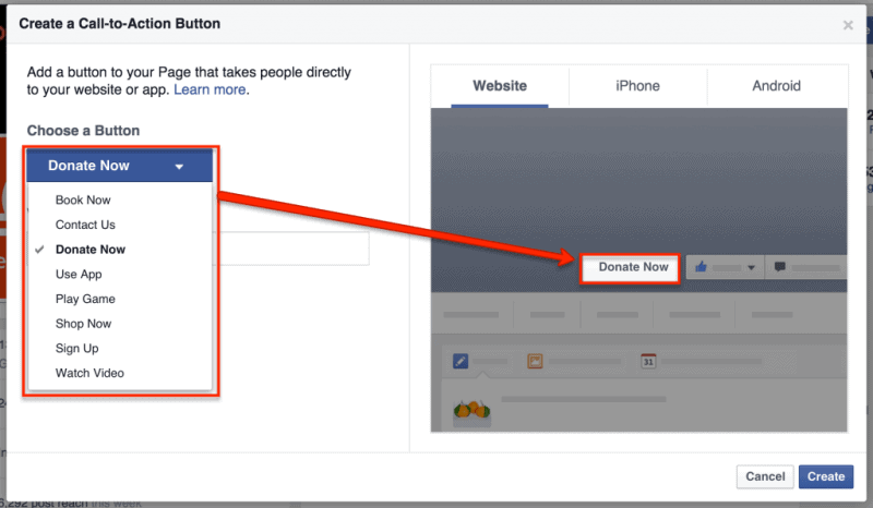 Call to action buttons on facebook cover photo