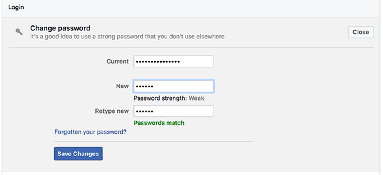 Changing The Facebook Password