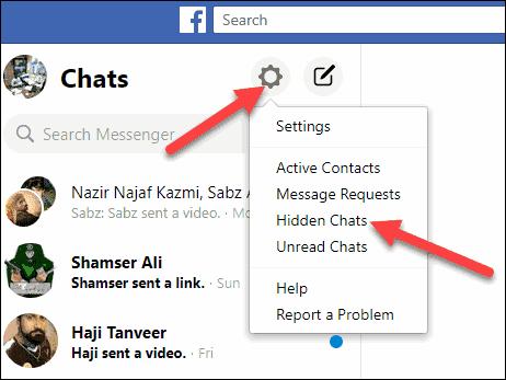 hidden chats options